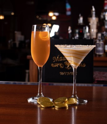 two alcoholic drinks at madeline's bar